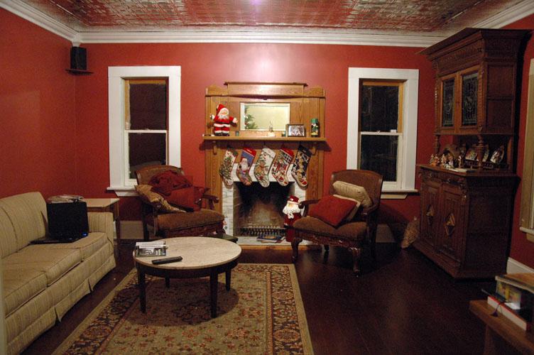 Tinceiling Tiles Original Mantle Built In Entertainment